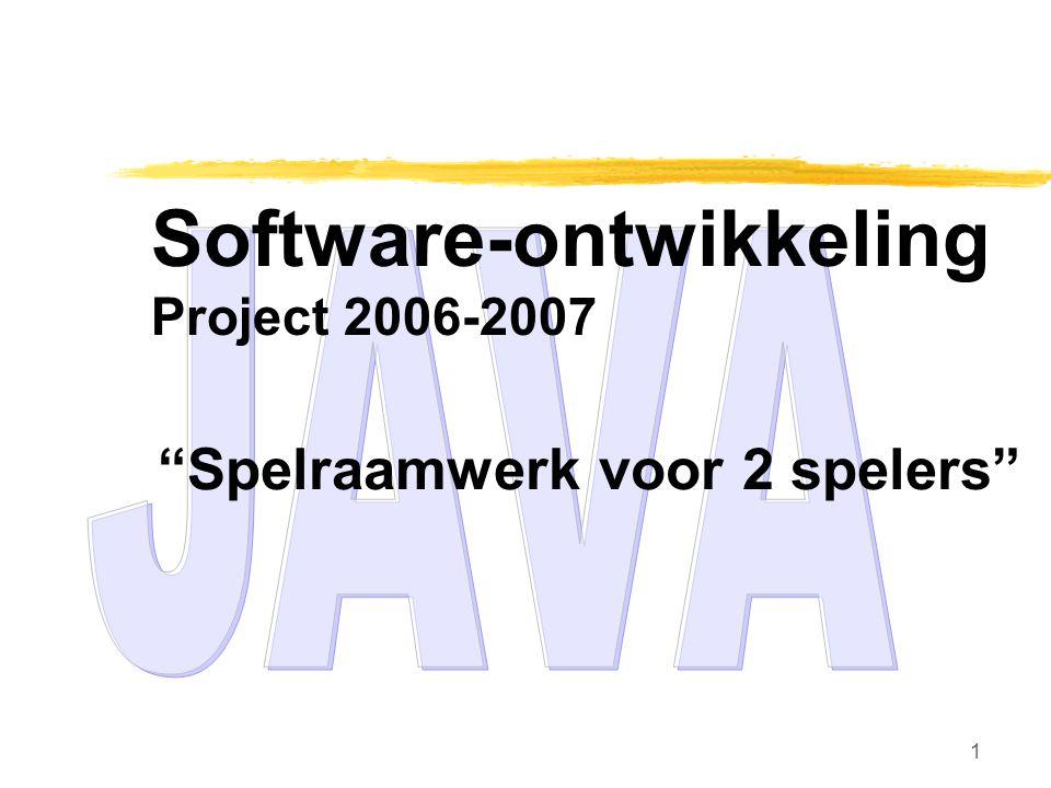 1 Software-ontwikkeling Project 2006-2007 Spelraamwerk voor 2 spelers