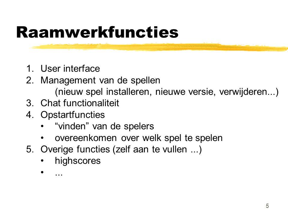 5 Raamwerkfuncties 1.User interface 2.Management van de spellen (nieuw spel installeren, nieuwe versie, verwijderen...) 3.Chat functionaliteit 4.Opsta