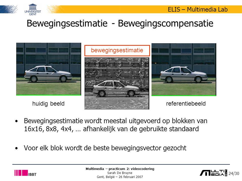 24/30 ELIS – Multimedia Lab Multimedia – practicum 2: videocodering Sarah De Bruyne Gent, België – 26 februari 2007 Bewegingsestimatie - Bewegingscompensatie Bewegingsestimatie wordt meestal uitgevoerd op blokken van 16x16, 8x8, 4x4, … afhankelijk van de gebruikte standaard Voor elk blok wordt de beste bewegingsvector gezocht huidig beeldreferentiebeeld bewegingsestimatie