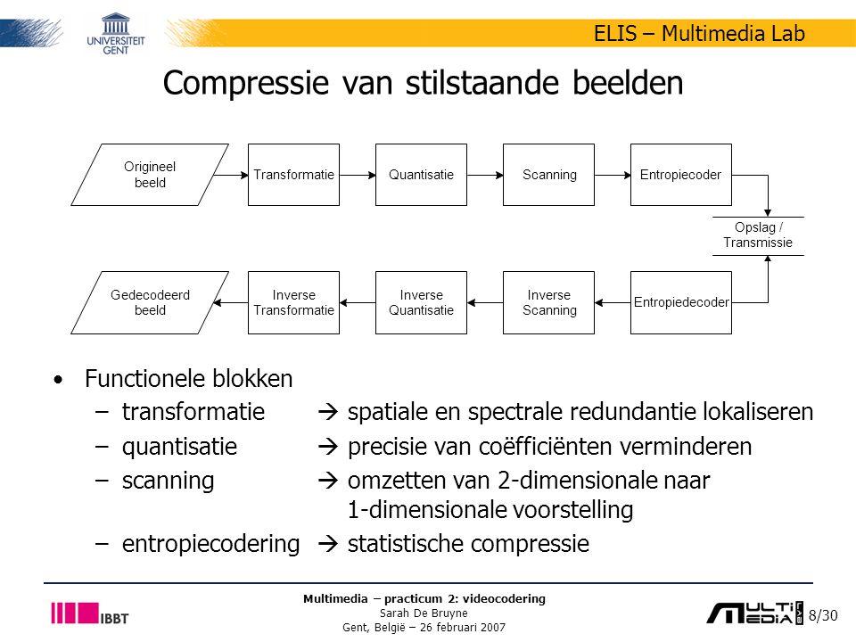 29/30 ELIS – Multimedia Lab Multimedia – practicum 2: videocodering Sarah De Bruyne Gent, België – 26 februari 2007 Opgave practicum 2 Raamwerk in C++ –enkel ondersteuning voor Windows XP –config.h parameters DO_MC, DO_DCT en DO_QT geven aan of deze stappen al dan niet in het encodeer- en decodeerproces moeten uitgevoerd worden –binnen elke codeerstap wordt op macroblokniveau gewerkt de coëfficiënten die gebruikt worden als input kunnen teruggevonden worden in mb  luma, mb  cr en mb  cb aangezien de input van het ene blok de output is van het vorige moeten de verkregen waarden ook in deze structuren worden bewaard