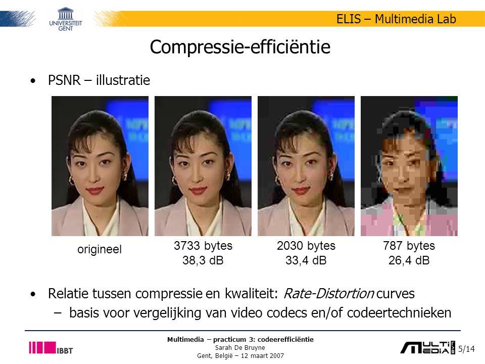 5/14 ELIS – Multimedia Lab Multimedia – practicum 3: codeerefficiëntie Sarah De Bruyne Gent, België – 12 maart 2007 Compressie-efficiëntie PSNR – illustratie Relatie tussen compressie en kwaliteit: Rate-Distortion curves –basis voor vergelijking van video codecs en/of codeertechnieken origineel 3733 bytes 38,3 dB 2030 bytes 33,4 dB 787 bytes 26,4 dB