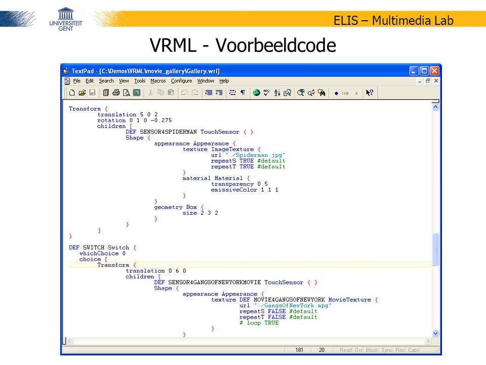 20/47 ELIS – Multimedia Lab VRML - Voorbeeldcode