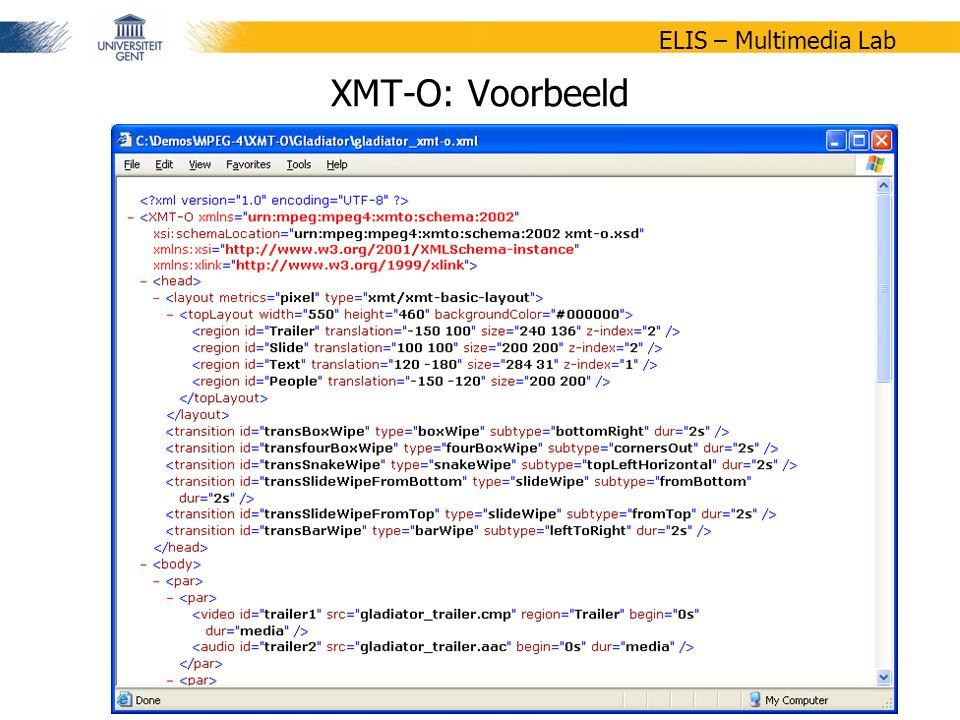 36/47 ELIS – Multimedia Lab XMT-O: Voorbeeld