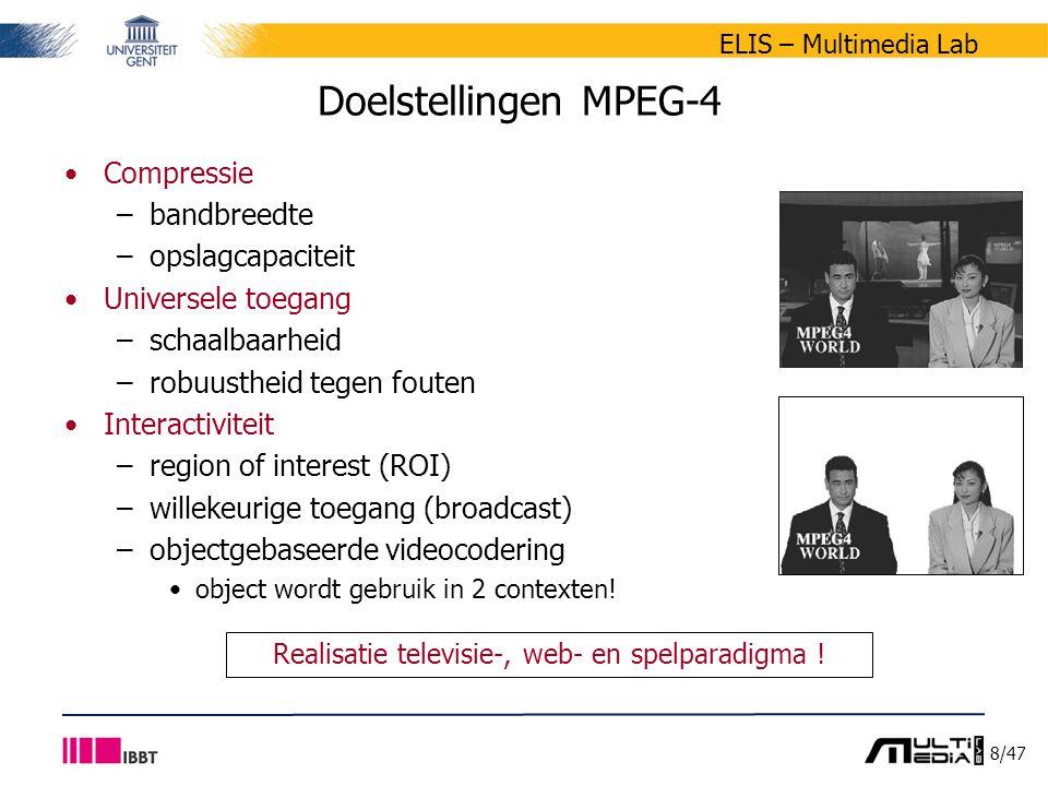 8/47 ELIS – Multimedia Lab Doelstellingen MPEG-4 Compressie –bandbreedte –opslagcapaciteit Universele toegang –schaalbaarheid –robuustheid tegen fouten Interactiviteit –region of interest (ROI) –willekeurige toegang (broadcast) –objectgebaseerde videocodering object wordt gebruik in 2 contexten.
