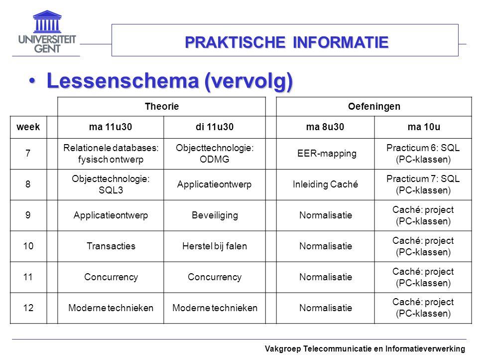 Vakgroep Telecommunicatie en Informatieverwerking PRAKTISCHE INFORMATIE Lessenschema (vervolg)Lessenschema (vervolg) Theorie Oefeningen weekma 11u30di