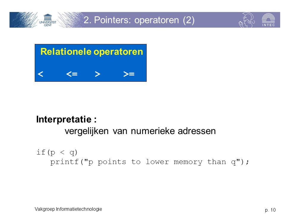p. 10 Vakgroep Informatietechnologie 2. Pointers: operatoren (2) Relationele operatoren >= Interpretatie : vergelijken van numerieke adressen if(p < q