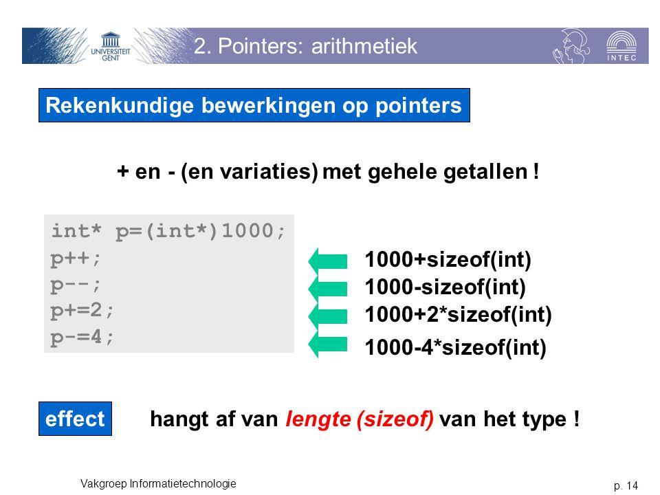 p. 14 Vakgroep Informatietechnologie 2. Pointers: arithmetiek Rekenkundige bewerkingen op pointers + en - (en variaties) met gehele getallen ! int* p=