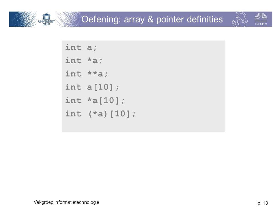 p. 18 Vakgroep Informatietechnologie Oefening: array & pointer definities int a; int *a; int **a; int a[10]; int *a[10]; int (*a)[10];