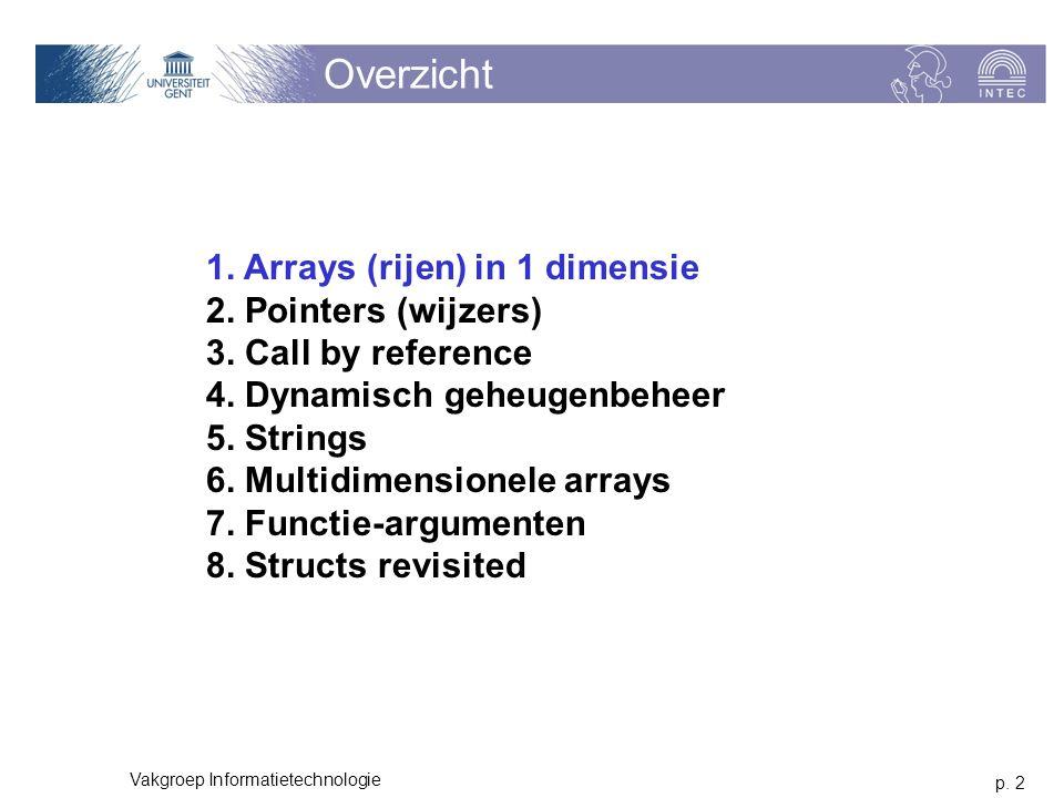 p. 2 Vakgroep Informatietechnologie Overzicht 1. Arrays (rijen) in 1 dimensie 2. Pointers (wijzers) 3. Call by reference 4. Dynamisch geheugenbeheer 5