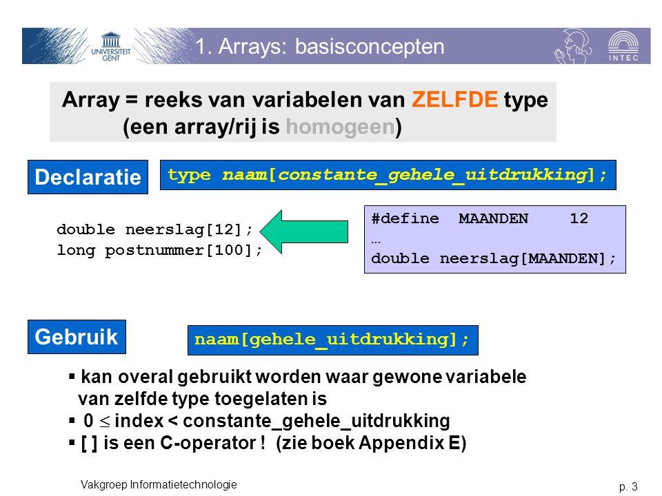 p. 3 Vakgroep Informatietechnologie 1. Arrays: basisconcepten Array = reeks van variabelen van ZELFDE type (een array/rij is homogeen) Declaratie type