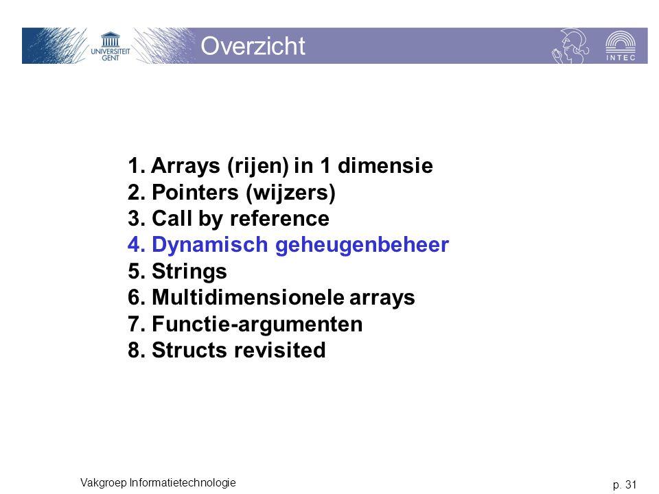 p. 31 Vakgroep Informatietechnologie Overzicht 1. Arrays (rijen) in 1 dimensie 2. Pointers (wijzers) 3. Call by reference 4. Dynamisch geheugenbeheer