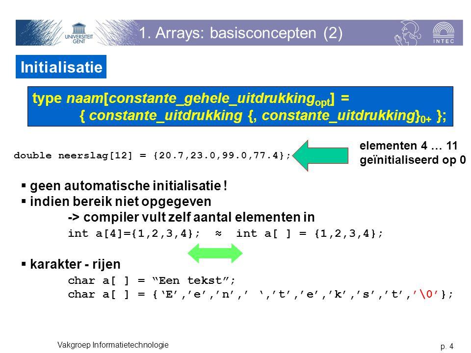p. 4 Vakgroep Informatietechnologie 1. Arrays: basisconcepten (2) Initialisatie type naam[constante_gehele_uitdrukking opt ] = { constante_uitdrukking