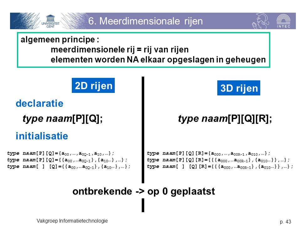 p. 43 Vakgroep Informatietechnologie 6. Meerdimensionale rijen algemeen principe : meerdimensionele rij = rij van rijen elementen worden NA elkaar opg