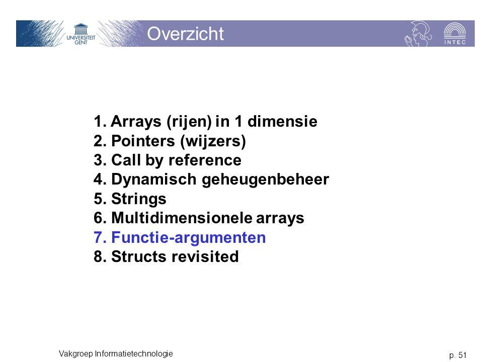 p. 51 Vakgroep Informatietechnologie Overzicht 1. Arrays (rijen) in 1 dimensie 2. Pointers (wijzers) 3. Call by reference 4. Dynamisch geheugenbeheer