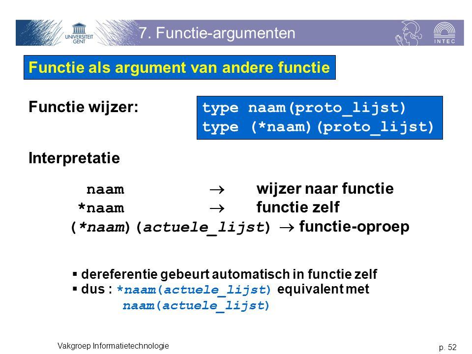 p. 52 Vakgroep Informatietechnologie 7. Functie-argumenten Functie als argument van andere functie Functie wijzer: type naam(proto_lijst) type (*naam)