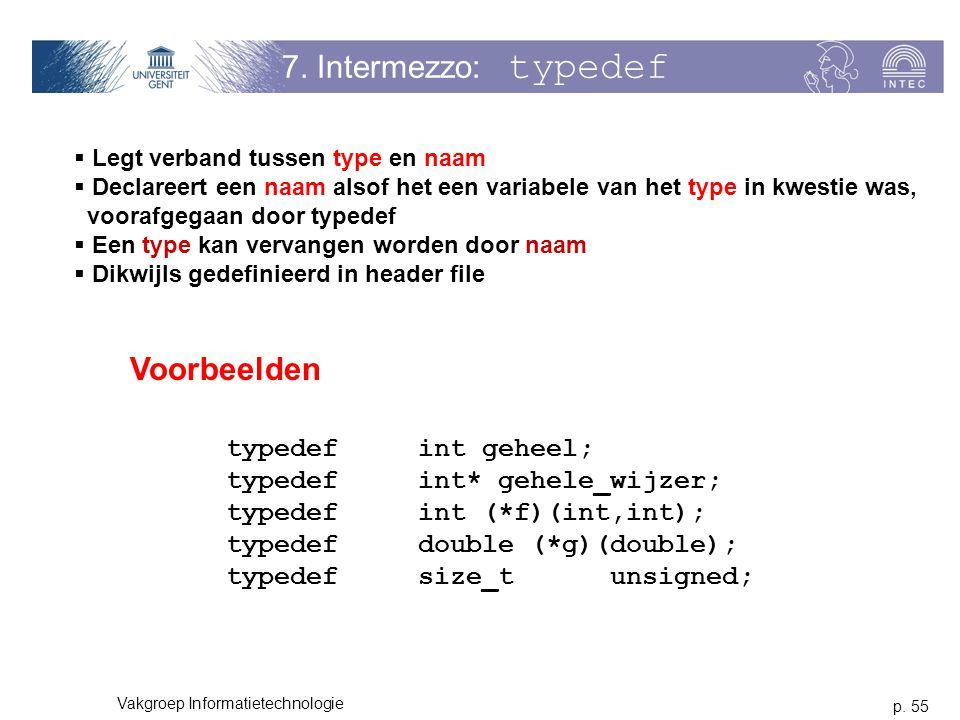 p. 55 Vakgroep Informatietechnologie 7. Intermezzo: typedef  Legt verband tussen type en naam  Declareert een naam alsof het een variabele van het t
