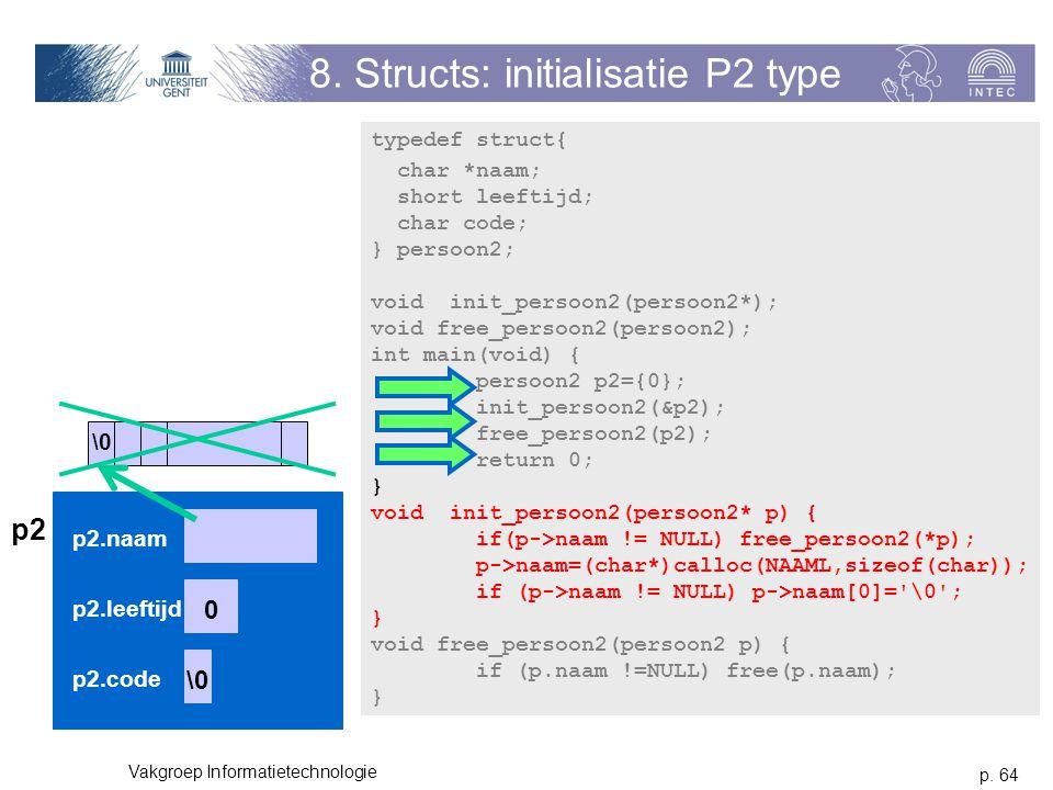 p. 64 Vakgroep Informatietechnologie 8. Structs: initialisatie P2 type typedef struct{ char *naam; short leeftijd; char code; } persoon2; void init_pe