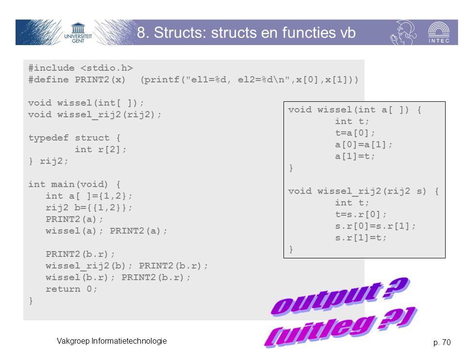 p. 70 Vakgroep Informatietechnologie 8. Structs: structs en functies vb #include #define PRINT2(x) (printf(