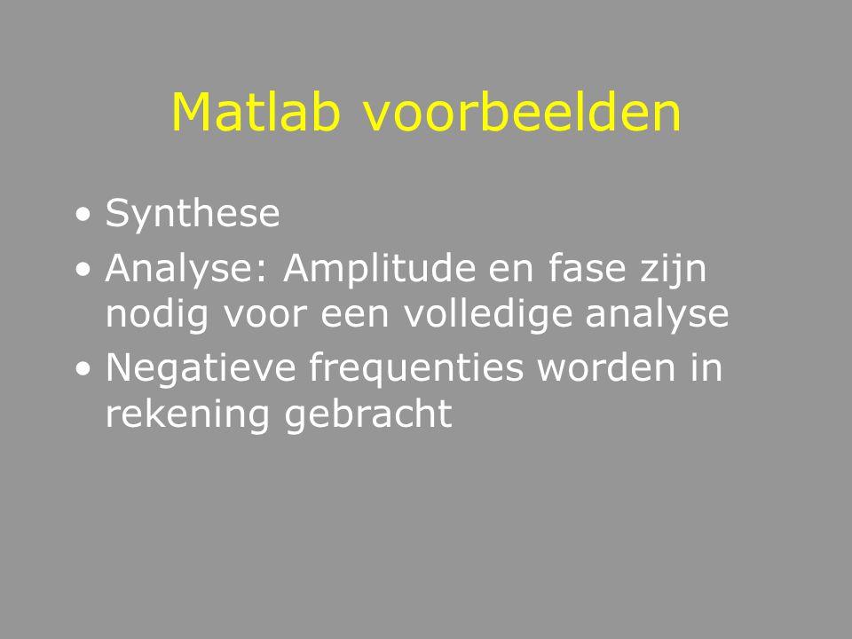 Matlab voorbeelden Synthese Analyse: Amplitude en fase zijn nodig voor een volledige analyse Negatieve frequenties worden in rekening gebracht