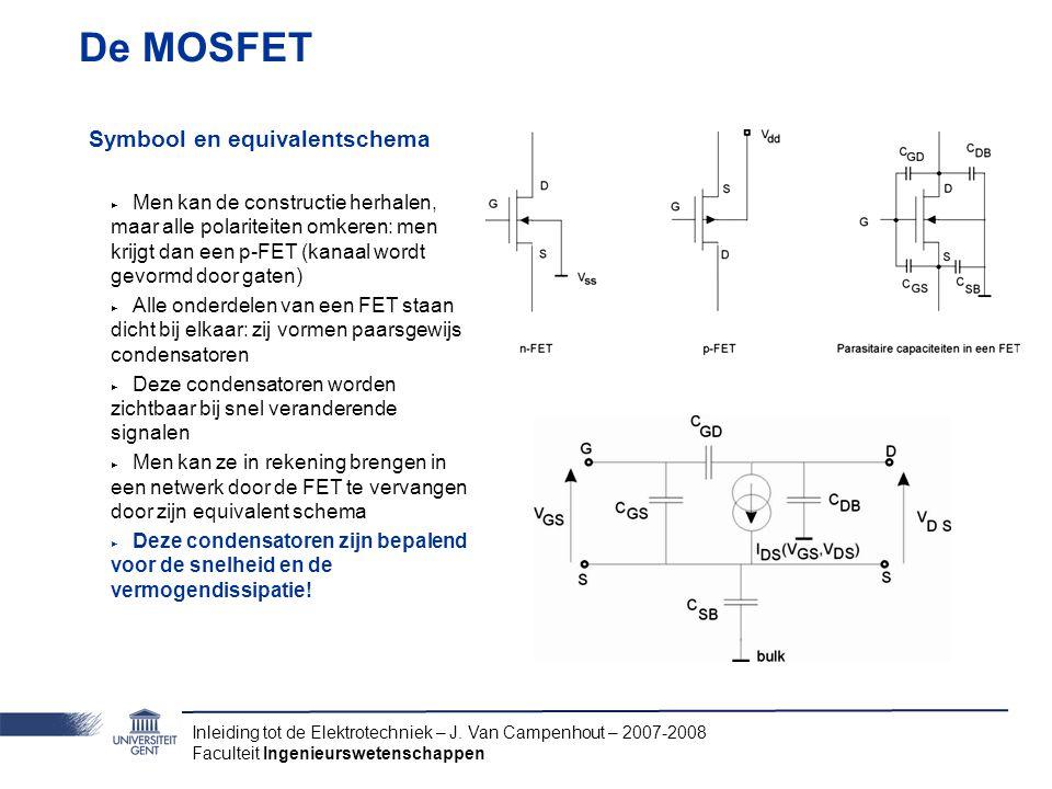 Inleiding tot de Elektrotechniek – J. Van Campenhout – 2007-2008 Faculteit Ingenieurswetenschappen De MOSFET Symbool en equivalentschema ‣ Men kan de