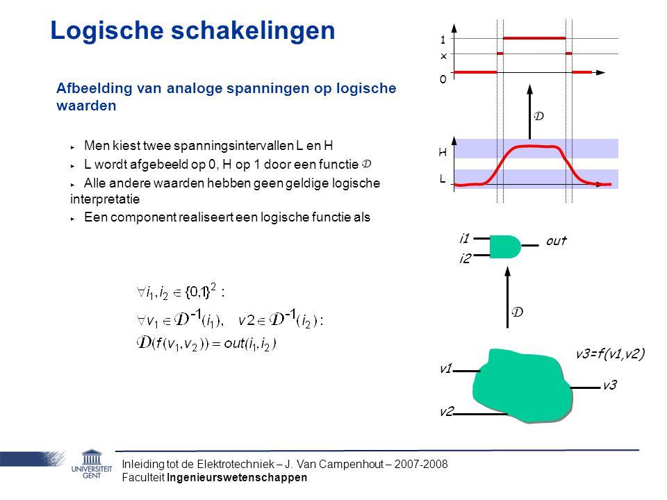 Inleiding tot de Elektrotechniek – J. Van Campenhout – 2007-2008 Faculteit Ingenieurswetenschappen Logische schakelingen Afbeelding van analoge spanni