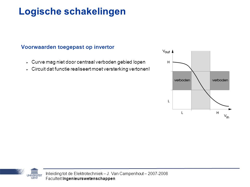 Inleiding tot de Elektrotechniek – J. Van Campenhout – 2007-2008 Faculteit Ingenieurswetenschappen Logische schakelingen Voorwaarden toegepast op inve