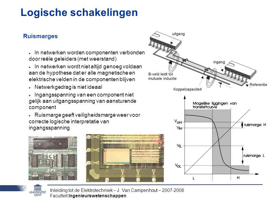Inleiding tot de Elektrotechniek – J. Van Campenhout – 2007-2008 Faculteit Ingenieurswetenschappen Logische schakelingen Ruismarges ‣ In netwerken wor