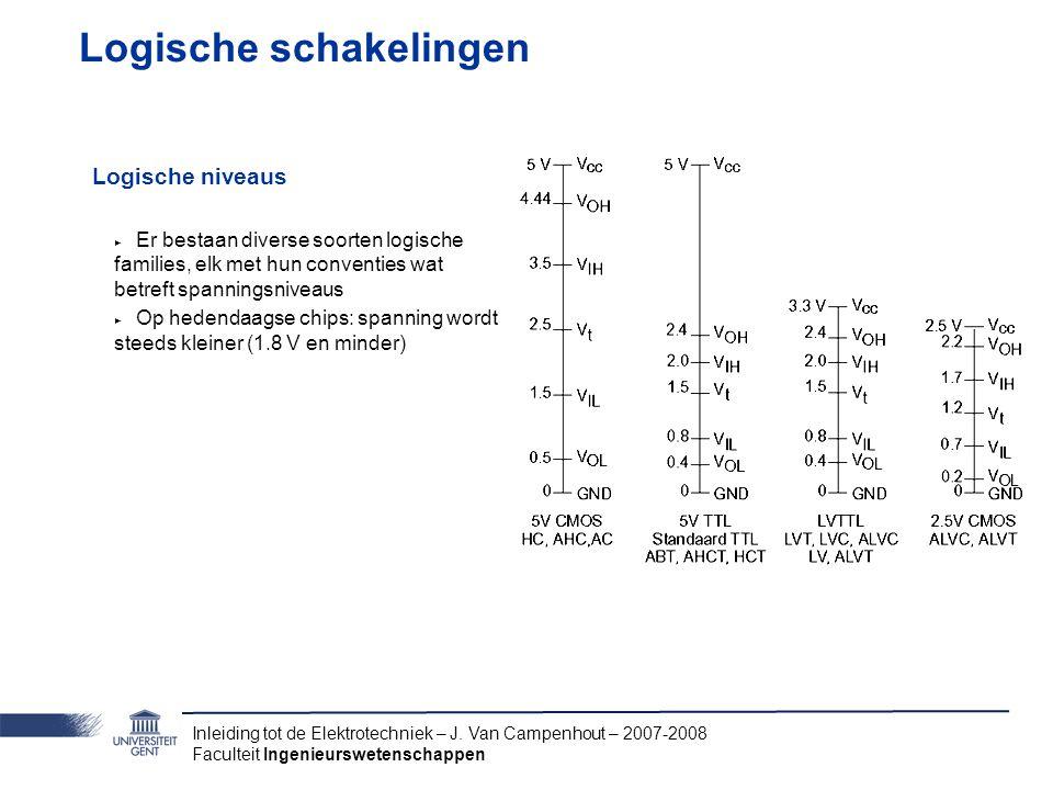 Inleiding tot de Elektrotechniek – J. Van Campenhout – 2007-2008 Faculteit Ingenieurswetenschappen Logische schakelingen Logische niveaus ‣ Er bestaan