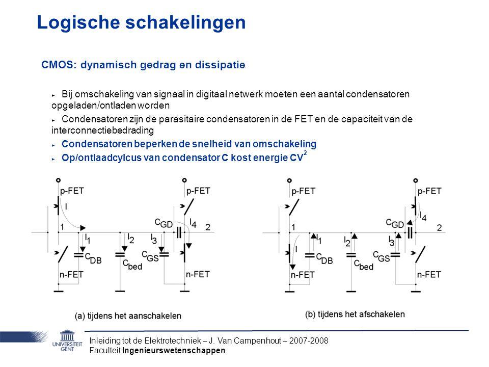 Inleiding tot de Elektrotechniek – J. Van Campenhout – 2007-2008 Faculteit Ingenieurswetenschappen Logische schakelingen CMOS: dynamisch gedrag en dis