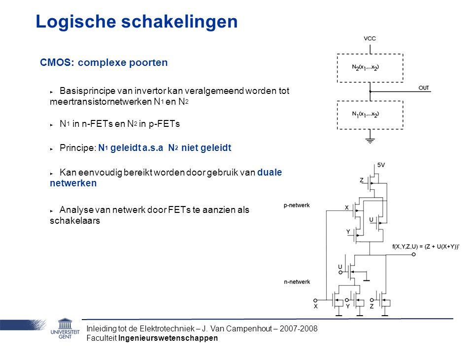 Inleiding tot de Elektrotechniek – J. Van Campenhout – 2007-2008 Faculteit Ingenieurswetenschappen Logische schakelingen CMOS: complexe poorten ‣ Basi