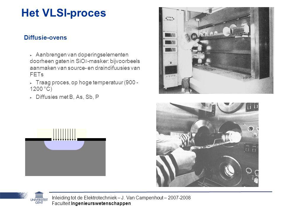 Inleiding tot de Elektrotechniek – J. Van Campenhout – 2007-2008 Faculteit Ingenieurswetenschappen Het VLSI-proces Diffusie-ovens ‣ Aanbrengen van dop