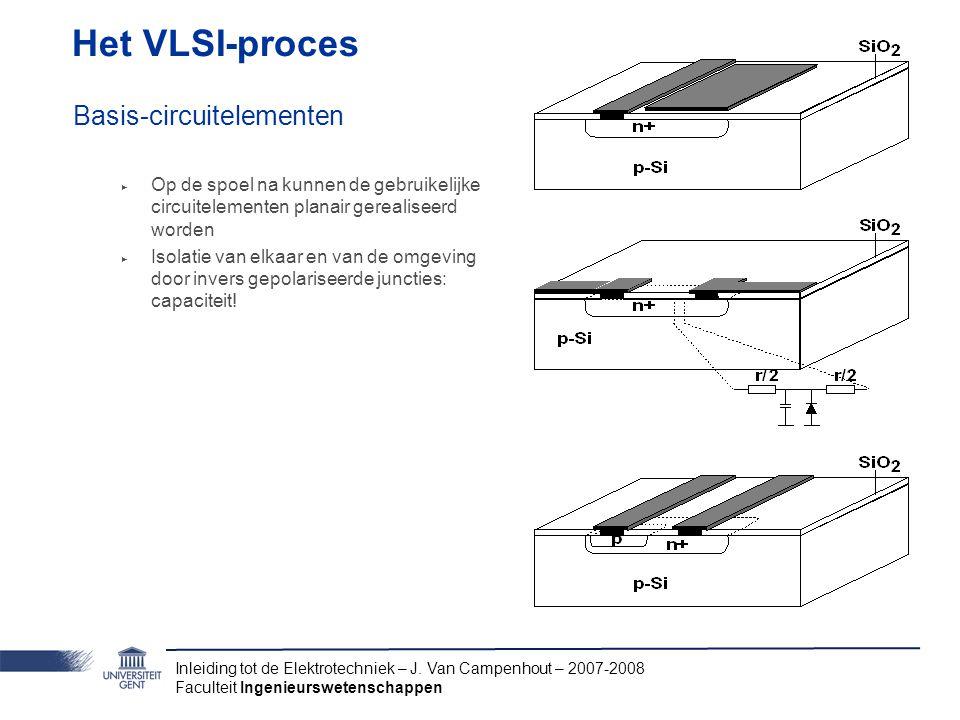 Inleiding tot de Elektrotechniek – J. Van Campenhout – 2007-2008 Faculteit Ingenieurswetenschappen Het VLSI-proces Basis-circuitelementen ‣ Op de spoe