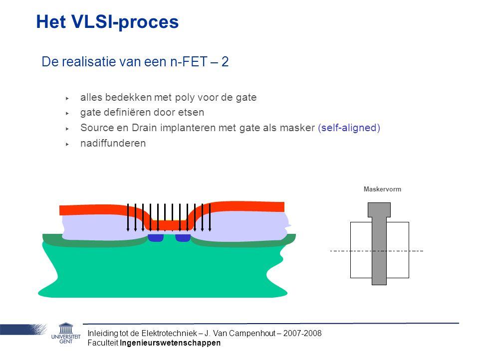 Inleiding tot de Elektrotechniek – J. Van Campenhout – 2007-2008 Faculteit Ingenieurswetenschappen Het VLSI-proces De realisatie van een n-FET – 2 ‣ a