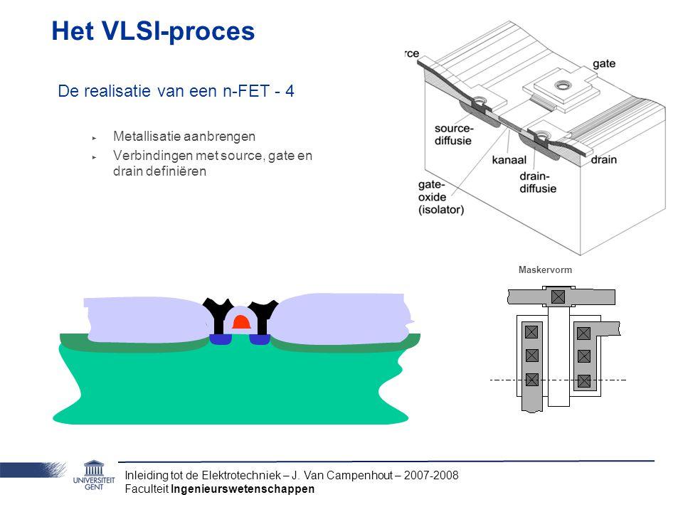 Inleiding tot de Elektrotechniek – J. Van Campenhout – 2007-2008 Faculteit Ingenieurswetenschappen Het VLSI-proces De realisatie van een n-FET - 4 ‣ M