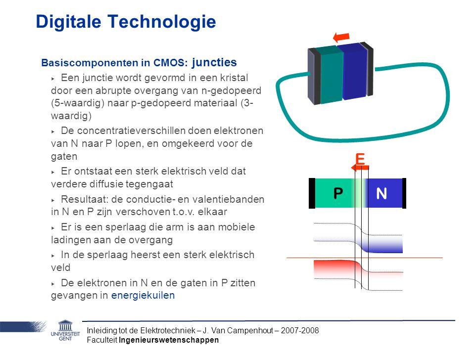 Inleiding tot de Elektrotechniek – J. Van Campenhout – 2007-2008 Faculteit Ingenieurswetenschappen Digitale Technologie E P N Basiscomponenten in CMOS
