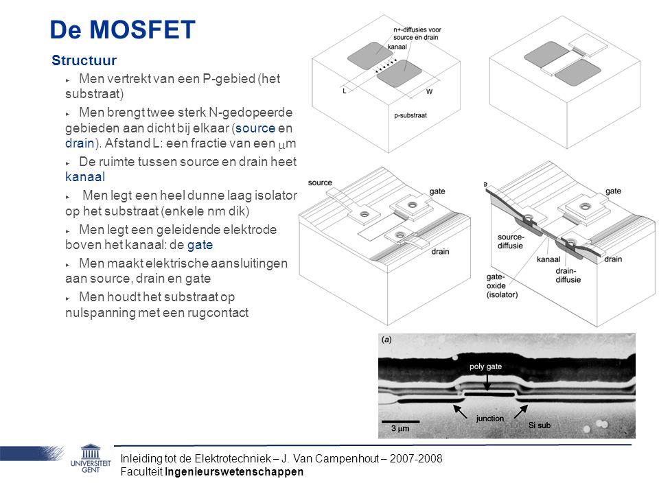 Inleiding tot de Elektrotechniek – J. Van Campenhout – 2007-2008 Faculteit Ingenieurswetenschappen De MOSFET Structuur ‣ Men vertrekt van een P-gebied