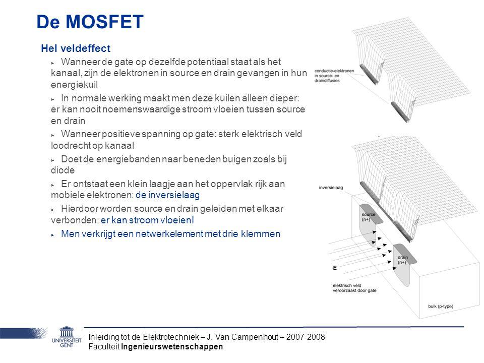 Inleiding tot de Elektrotechniek – J. Van Campenhout – 2007-2008 Faculteit Ingenieurswetenschappen De MOSFET Hel veldeffect ‣ Wanneer de gate op dezel