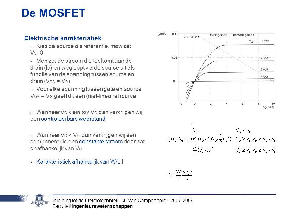 Inleiding tot de Elektrotechniek – J. Van Campenhout – 2007-2008 Faculteit Ingenieurswetenschappen De MOSFET Elektrische karakteristiek ‣ Kies de sour