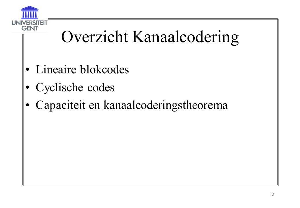 2 Overzicht Kanaalcodering Lineaire blokcodes Cyclische codes Capaciteit en kanaalcoderingstheorema