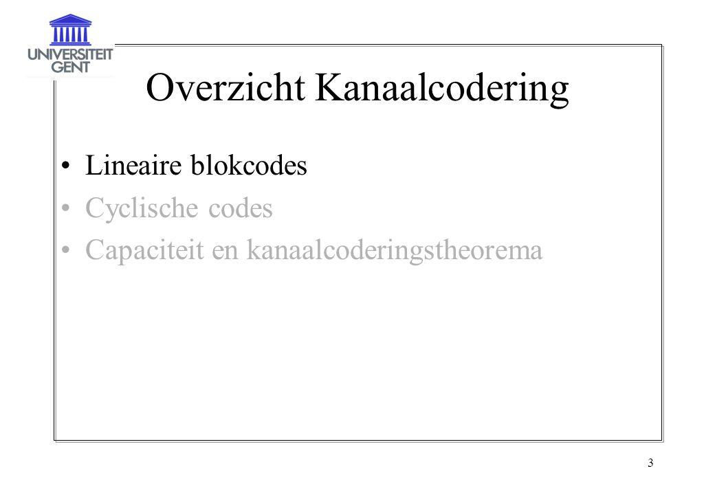 3 Overzicht Kanaalcodering Lineaire blokcodes Cyclische codes Capaciteit en kanaalcoderingstheorema