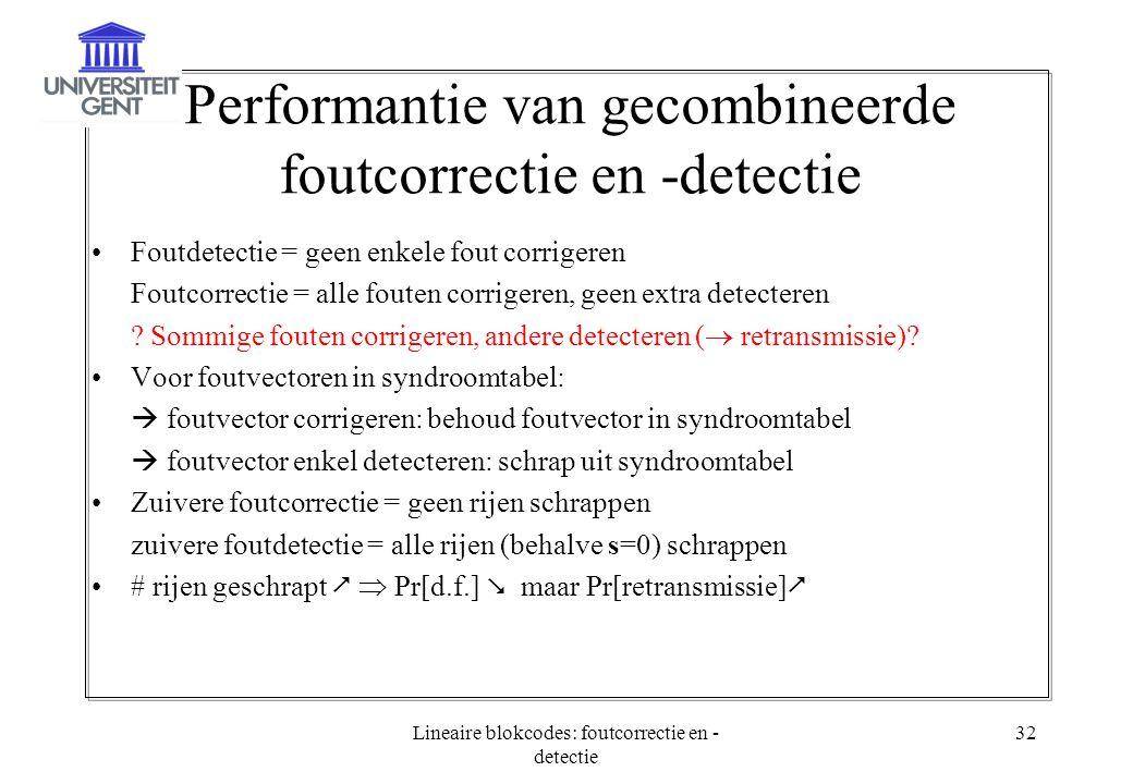 Lineaire blokcodes: foutcorrectie en - detectie 32 Performantie van gecombineerde foutcorrectie en -detectie Foutdetectie = geen enkele fout corrigere