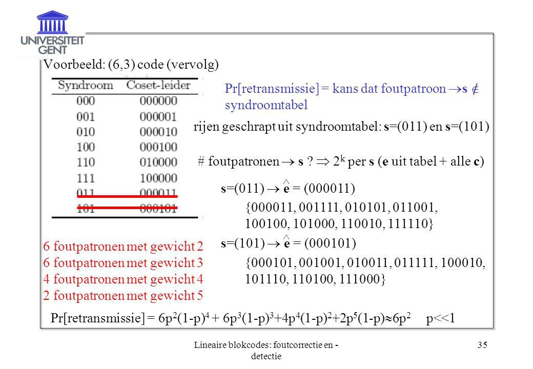 Lineaire blokcodes: foutcorrectie en - detectie 35 Voorbeeld: (6,3) code (vervolg) Pr[retransmissie] = kans dat foutpatroon  s  syndroomtabel rijen