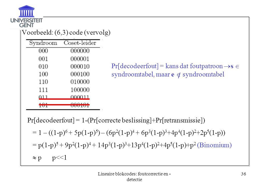 Lineaire blokcodes: foutcorrectie en - detectie 36 Voorbeeld: (6,3) code (vervolg) Pr[decodeerfout] = kans dat foutpatroon  s  syndroomtabel, maar e
