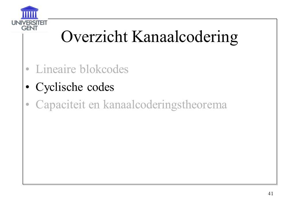 41 Overzicht Kanaalcodering Lineaire blokcodes Cyclische codes Capaciteit en kanaalcoderingstheorema