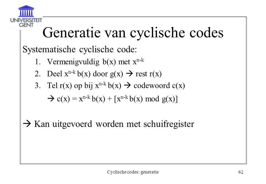 Cyclische codes: generatie62 Generatie van cyclische codes Systematische cyclische code: 1.Vermenigvuldig b(x) met x n-k 2.Deel x n-k b(x) door g(x) 