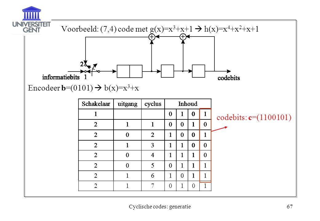 Cyclische codes: generatie67 Voorbeeld: (7,4) code met g(x)=x 3 +x+1  h(x)=x 4 +x 2 +x+1 Encodeer b=(0101)  b(x)=x 3 +x SchakelaaruitgangcyclusInhou