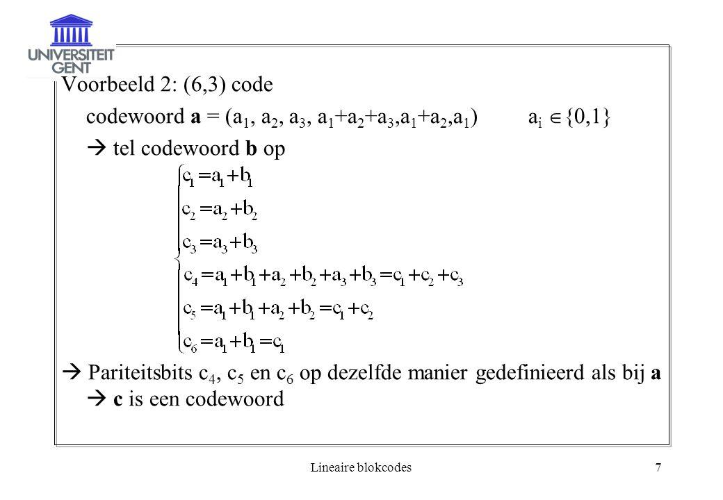 Lineaire blokcodes7 Voorbeeld 2: (6,3) code codewoord a = (a 1, a 2, a 3, a 1 +a 2 +a 3,a 1 +a 2,a 1 )a i  {0,1}  tel codewoord b op  Pariteitsbits