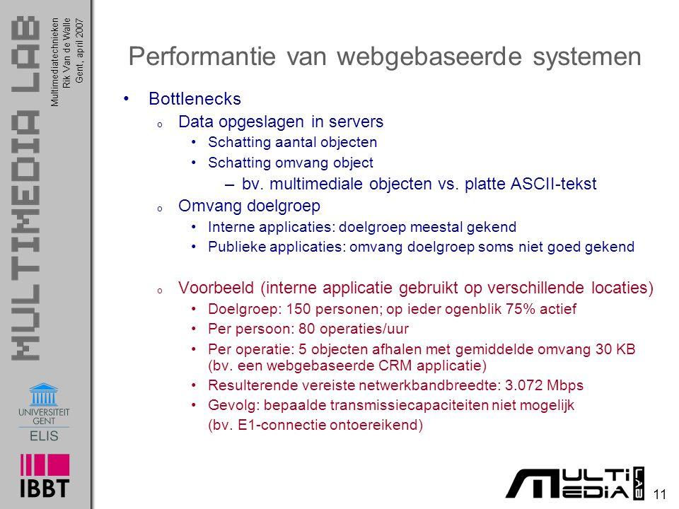 Multimediatechnieken 11 Rik Van de WalleGent, april 2007 Performantie van webgebaseerde systemen Bottlenecks o Data opgeslagen in servers Schatting aantal objecten Schatting omvang object –bv.
