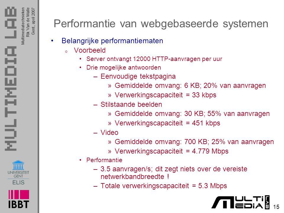Multimediatechnieken 15 Rik Van de WalleGent, april 2007 Performantie van webgebaseerde systemen Belangrijke performantiematen o Voorbeeld Server ontvangt 12000 HTTP-aanvragen per uur Drie mogelijke antwoorden –Eenvoudige tekstpagina »Gemiddelde omvang: 6 KB; 20% van aanvragen »Verwerkingscapaciteit = 33 kbps –Stilstaande beelden »Gemiddelde omvang: 30 KB; 55% van aanvragen »Verwerkingscapaciteit = 451 kbps –Video »Gemiddelde omvang: 700 KB; 25% van aanvragen »Verwerkingscapaciteit = 4.779 Mbps Performantie –3.5 aanvragen/s; dit zegt niets over de vereiste netwerkbandbreedte .
