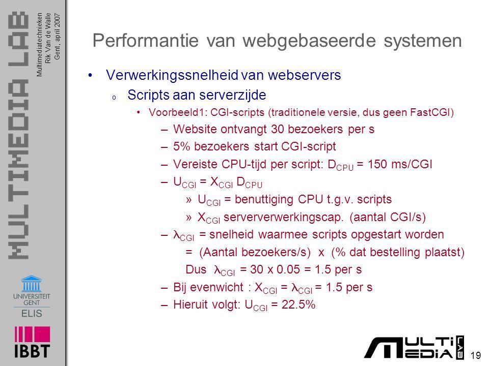 Multimediatechnieken 19 Rik Van de WalleGent, april 2007 Performantie van webgebaseerde systemen Verwerkingssnelheid van webservers o Scripts aan serverzijde Voorbeeld1: CGI-scripts (traditionele versie, dus geen FastCGI) –Website ontvangt 30 bezoekers per s –5% bezoekers start CGI-script –Vereiste CPU-tijd per script: D CPU = 150 ms/CGI –U CGI = X CGI D CPU »U CGI = benuttiging CPU t.g.v.